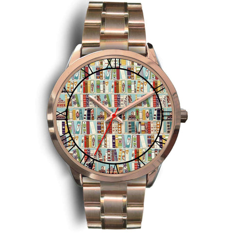 """Book pattern""rose gold watch - Gifts For Reading Addicts"