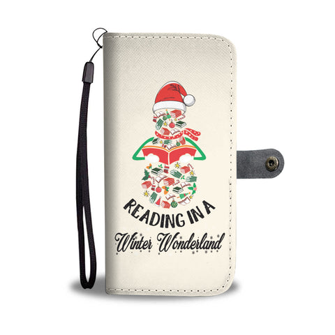 """Reading in a winter wonderland""white wallet case - Gifts For Reading Addicts"