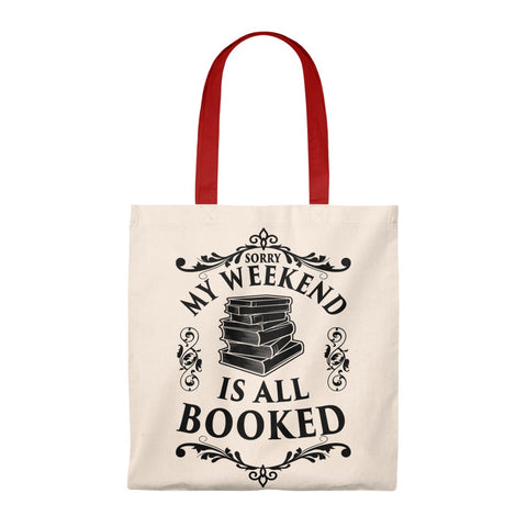 My Weekend Is All Booked Canvas Tote Bag - Vintage style - Gifts For Reading Addicts