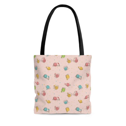 Pink Bookish Pattern Tote Bag - Gifts For Reading Addicts