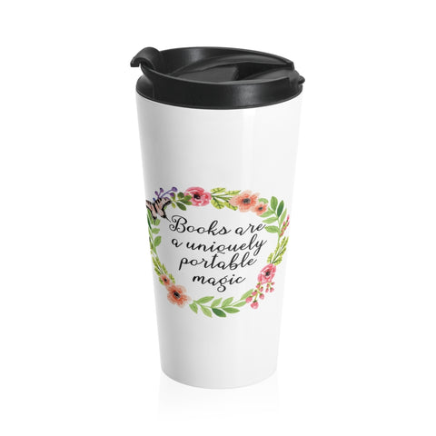 Uniquely Portable Magic - Eco-friendly Stainless Steel Travel Mug With Floral Bookish Design - Gifts For Reading Addicts