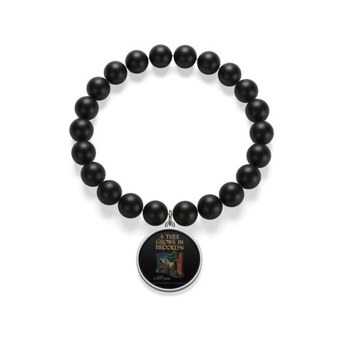 """A Tree Grows In Brooklyn""Book Cover Matte Onyx Bracelet - Gifts For Reading Addicts"