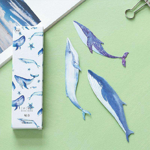 30pcs/box cute  Whales Bookmarks