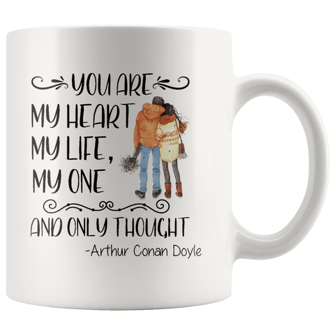"""My heart my life""11oz white mug - Gifts For Reading Addicts"