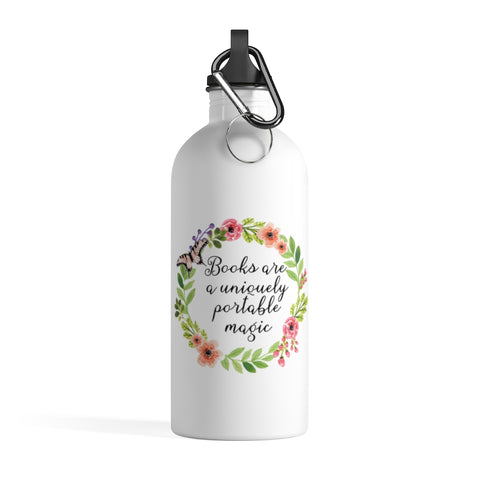 Uniquely Portable Magic - Stainless Steel Eco-friendly Water Bottle with bookish floral design - Gifts For Reading Addicts