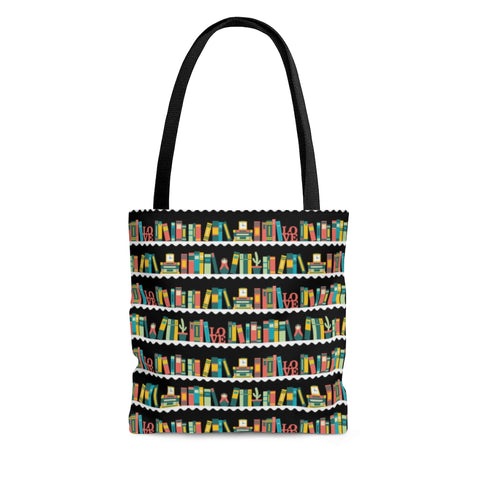 Bookshelf Pattern Tote Bag - Gifts For Reading Addicts