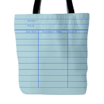 Library Card Tote, Blue-For Reading Addicts