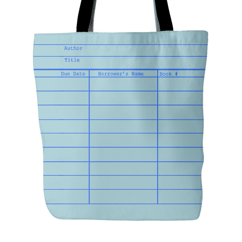 Library Card Tote, Blue - Gifts For Reading Addicts