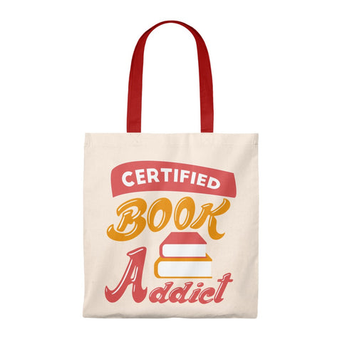 Certified Book Addict Canvas Tote Bag - Vintage style - Gifts For Reading Addicts