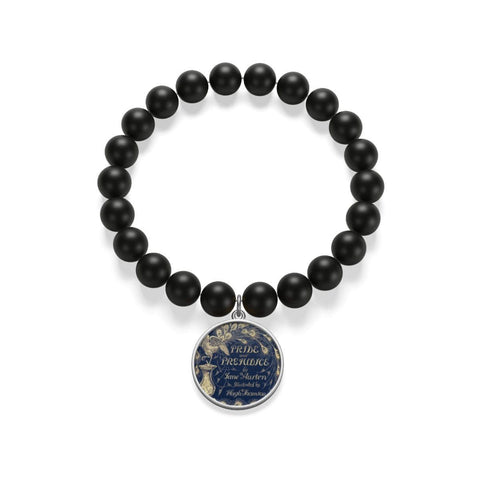 """Pride And Prejudice""Book Cover Matte Onyx Bracelet - Gifts For Reading Addicts"