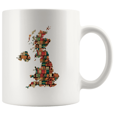 """UK Bookish Map""11oz White Mug"