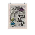 """We're all mad here""Alice in wonderland vintage dictionary poster - Gifts For Reading Addicts"