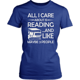 """All I Care About Is Reading"" Women's Fitted T-shirt - Gifts For Reading Addicts"