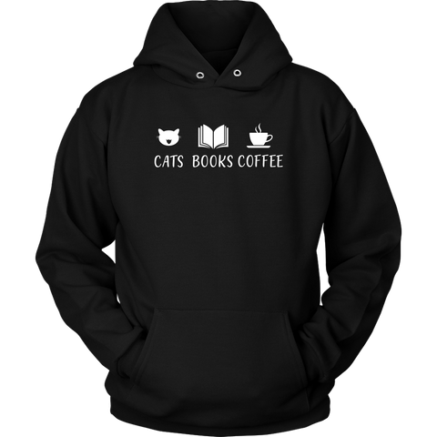 """Cats Books Coffee"" Hoodie - Gifts For Reading Addicts"