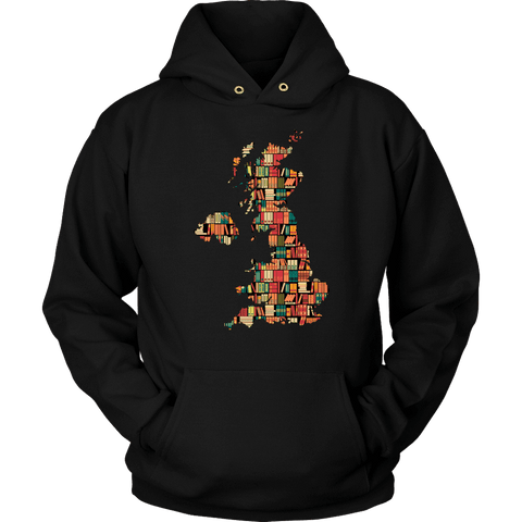 """UK Bookish Map"" Hoodie - Gifts For Reading Addicts"
