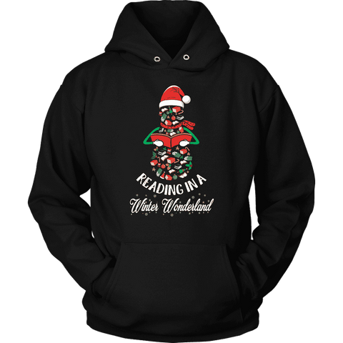 """Reading in a winter wonderland"" Hoodie - Gifts For Reading Addicts"