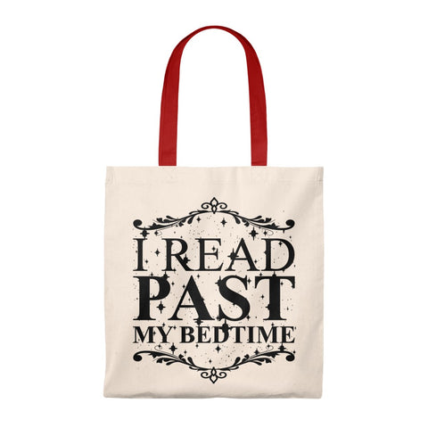I Read Past My Bedtime Canvas Tote Bag - Vintage style - Gifts For Reading Addicts