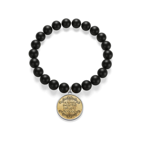 """I Solemnly Swear That I Am Up To No Good""HP Matte Onyx Bracelet - Gifts For Reading Addicts"