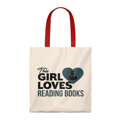 The Girl Loves Reading Books Canvas Tote Bag - Vintage style - Gifts For Reading Addicts