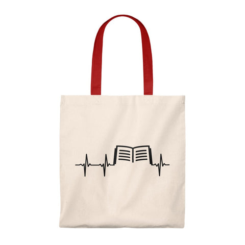 Book Heartbeat Canvas Tote Bag - Vintage style - Gifts For Reading Addicts