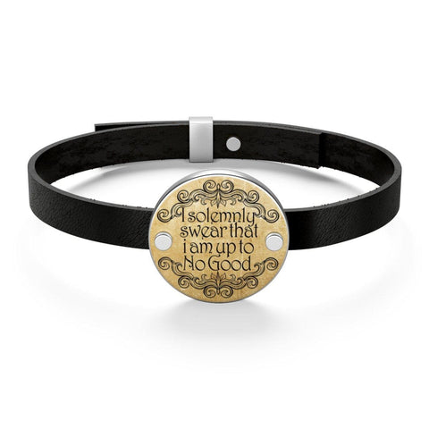 """I Solemnly Swear That I Am Up To No Good""HP Leather Bracelet - Gifts For Reading Addicts"