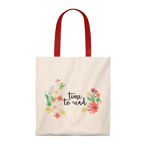 Time To Read Floral Canvas Tote Bag - Vintage style - Gifts For Reading Addicts