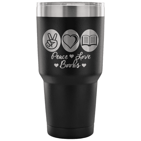 Peace, Love & Books Travel Mug