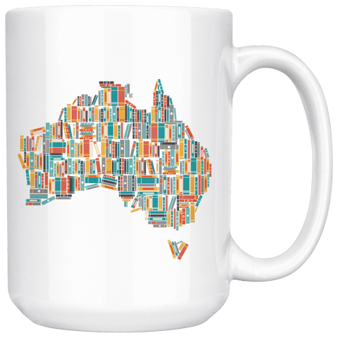 """Australia Bookish Map""15oz White Mug"