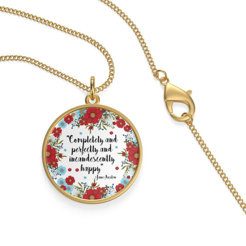 Jane Austen Quote Single Loop Necklace - Gifts For Reading Addicts