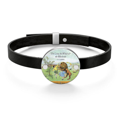 """The Lion,The Witch & The Wardrobe""Book Cover Leather Bracelet - Gifts For Reading Addicts"