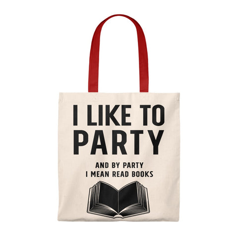 By Party I Mean Read Books Canvas Tote Bag - Vintage style - Gifts For Reading Addicts