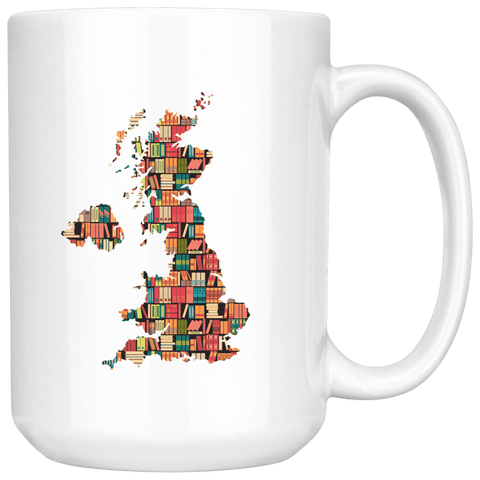 """UK Bookish Map""15oz White Mug"