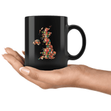 """UK Bookish Map""11oz Black Mug"