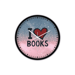 """I Love Books""Non-Ticking Silent Wall Clock with Modern and Nice Design for Wall Decoration (Black)"