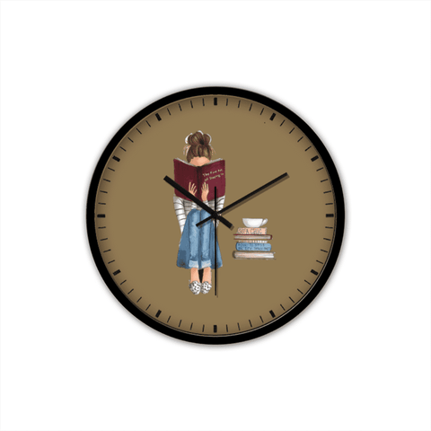 Bookish Non-Ticking Silent Wall Clock with Modern and Nice Design for Wall Decoration (Black)
