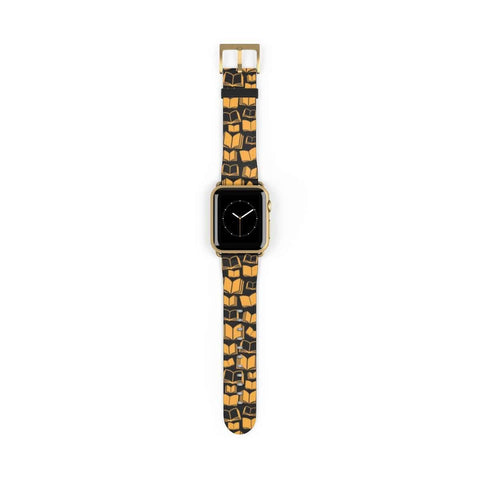 Yellow Bookish Pattern Design Watch Band for Apple Watch - Gifts For Reading Addicts