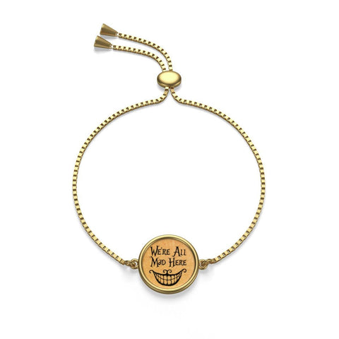 W're All Mad Here Alice In Wonderland Box Chain Bracelet - Gifts For Reading Addicts
