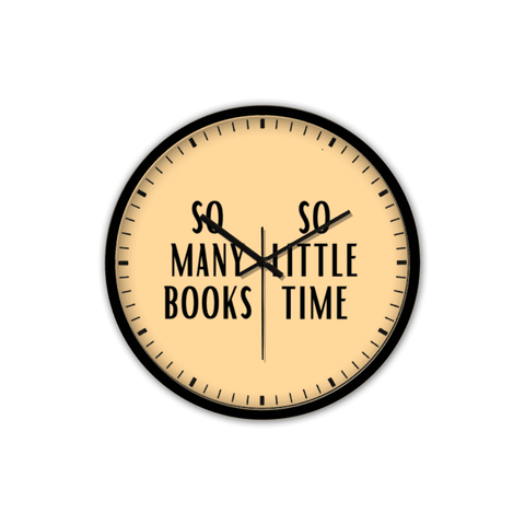 """So Many Books""Non-Ticking Silent Wall Clock with Modern and Nice Design for Wall Decoration (Black) - Gifts For Reading Addicts"