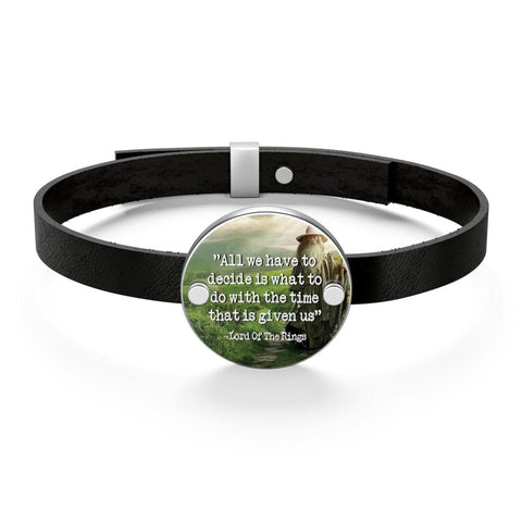 The Lord Of The Rings Quote Leather Bracelet - Gifts For Reading Addicts