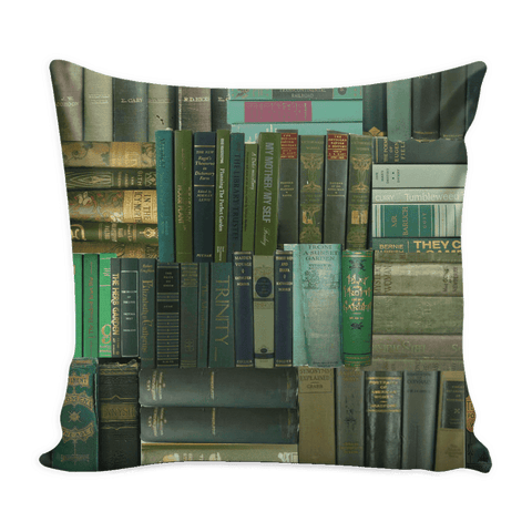 Book Spines Pillow Cover Green-For Reading Addicts