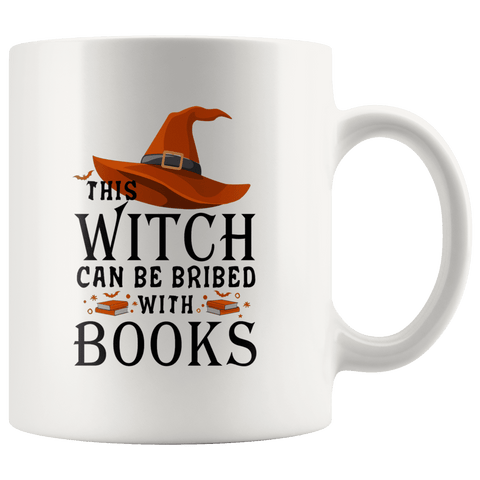 """Bribed With Books""11oz White Mug - Gifts For Reading Addicts"