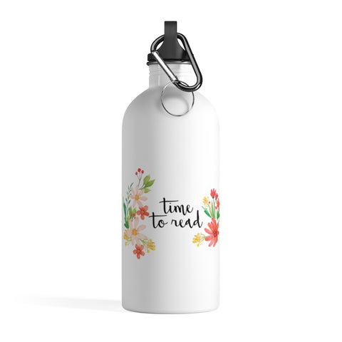 Time To Read - Stainless Steel Eco-friendly Water Bottle with bookish floral design - Gifts For Reading Addicts