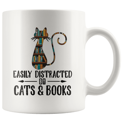 """Cats and books"" 11oz white mug - Gifts For Reading Addicts"