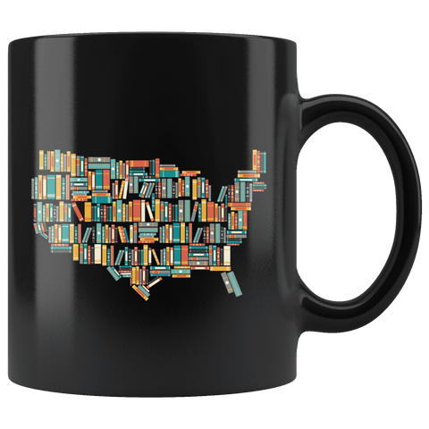 """USA Bookish Map""11oz Black Mug"