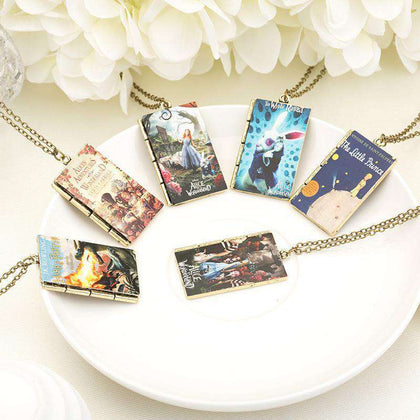 Book Cover Art Pendant Necklace-For Reading Addicts