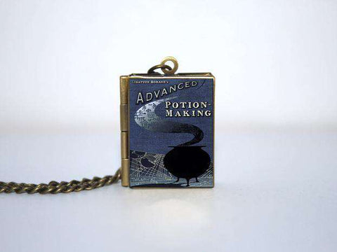 Advanced Potion Making Book cover Locket Necklace keyring - Gifts For Reading Addicts