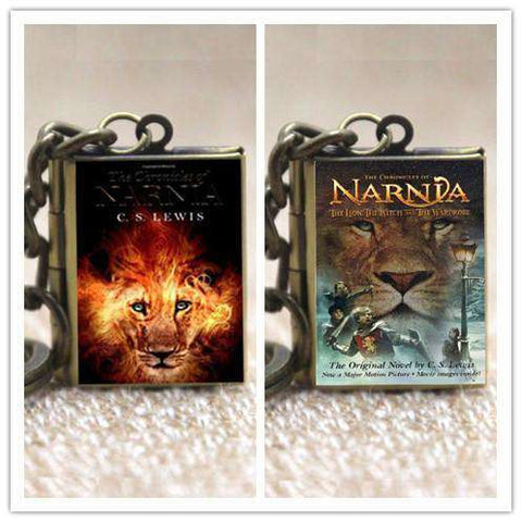 Chronicles of Narnia Book Cover Locket Necklace keyring - Gifts For Reading Addicts