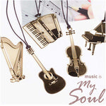 Musical Instrument Gold Plated metal bookmarks - Gifts For Reading Addicts