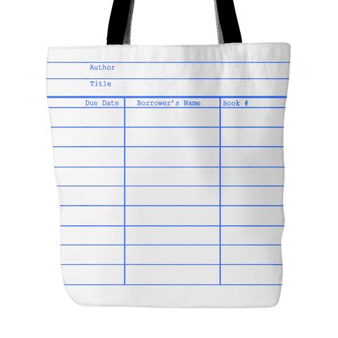 Library Card Tote, White-For Reading Addicts