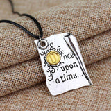 Once Upon A Time Story Book Page Pendant Necklace - Gifts For Reading Addicts